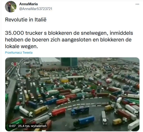 Blokada włoch przez kierowców ciężarówek - fałszywy post