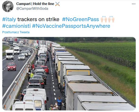 Kierowcy ciężarówek strajkują przeciwko zielonej przepustce - Fałszywy post