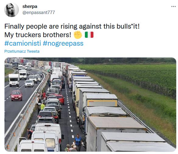 Kierowcy ciężarówek strajkują we Włoszech