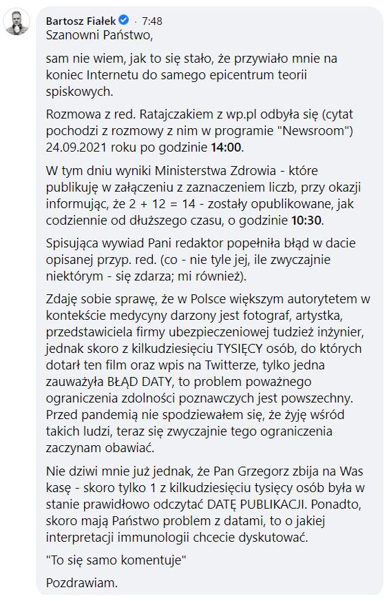 Bartosz Fiałek na Facebooku