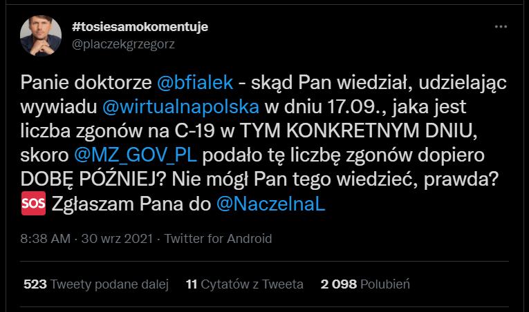 Grzegorz Płaczek Twitter