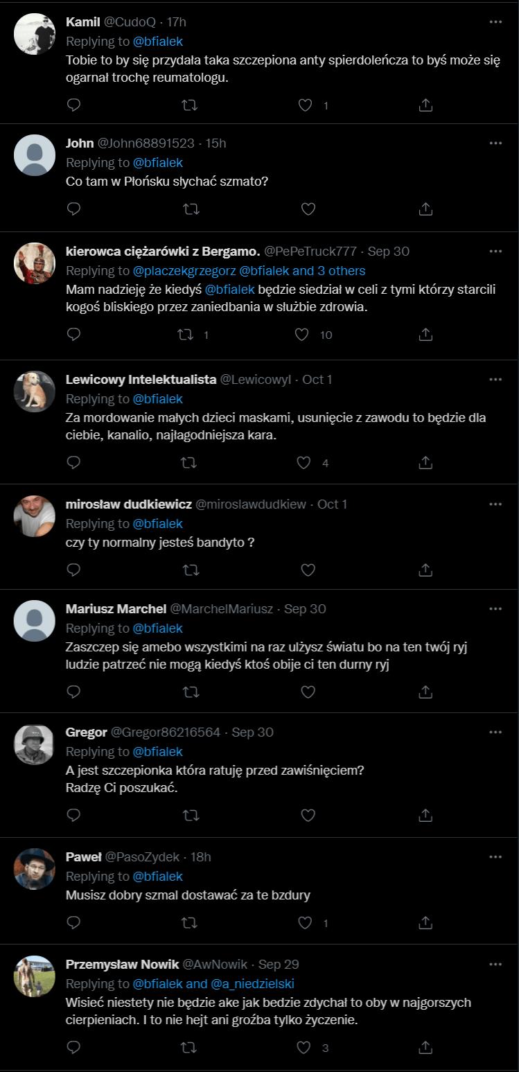 hejterskie komentarze Twitter