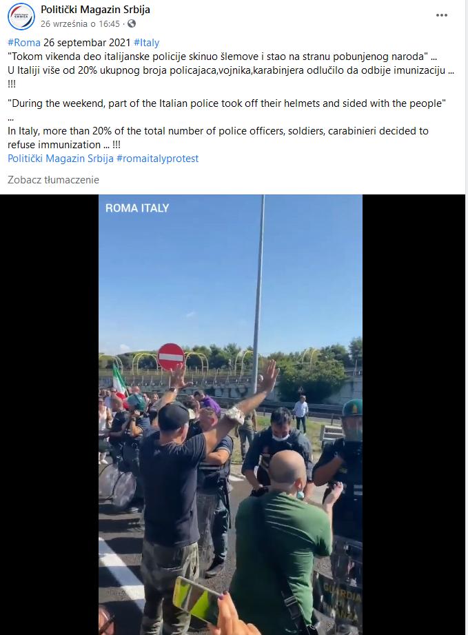 Włoska policja zdejmuje kaski