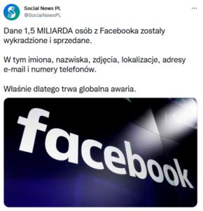 Globalna awaria Facebook